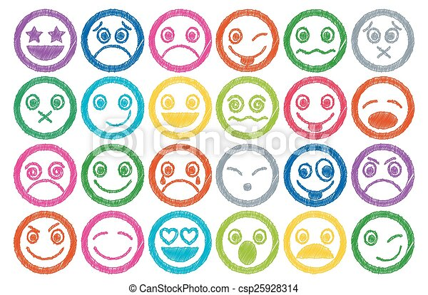Smiley Icons colored Pen shading ef - csp25928314