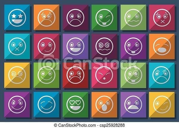Smiley Icons Design Metro style set - csp25928288