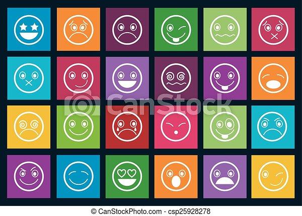 Smiley Icons Design Metro style set - csp25928278