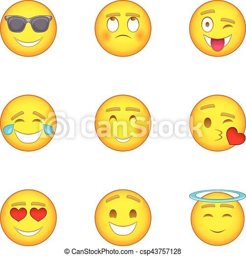 Smiley icons set, cartoon style - csp43757128