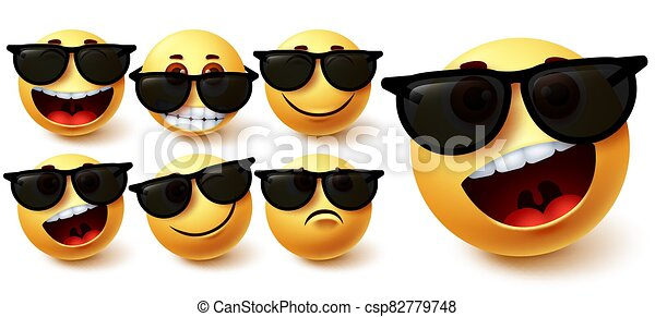 Smiley in sunglasses vector set. Smileys emoji character wearing glasses with different facial expression - csp82779748