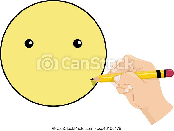 Smiley Kid Hand Draw Emotion Illustration Featuring A Little Kid
