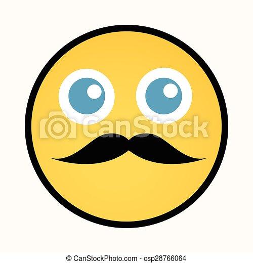 smiley, moustache, retro - csp28766064