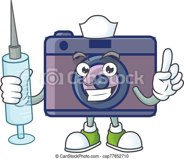 Smiley Nurse retro camera cartoon character with a syringe - csp77852710