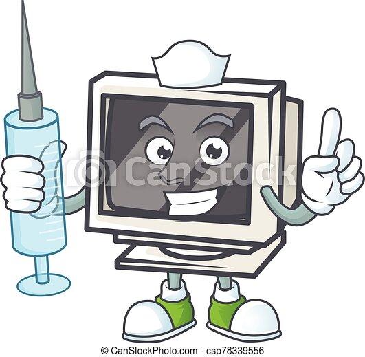 Smiley Nurse vintage monitor cartoon character with a syringe - csp78339556