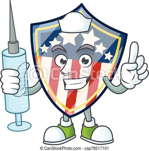 Smiley Nurse vintage shield badges USA cartoon character with a syringe - csp78517101