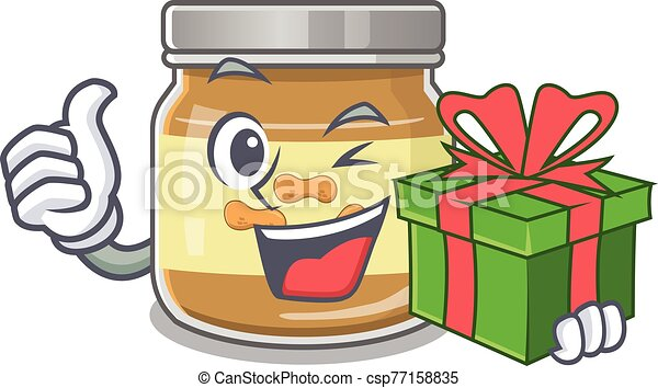 Smiley peanut butter character with gift box - csp77158835