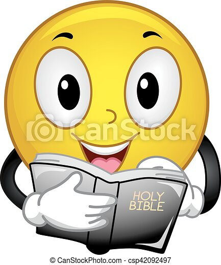 Smiley Read Bible Passages - csp42092497