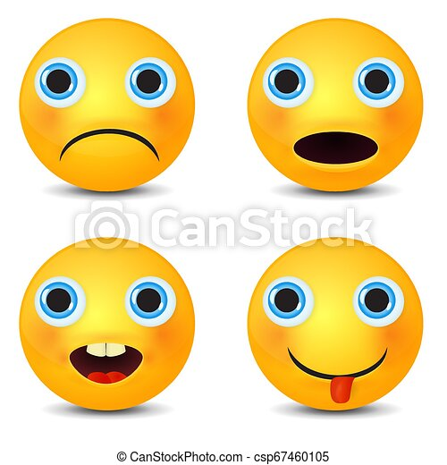 Smiley set, smiling emoticon. Yellow face with emotions. Facial expression. - csp67460105