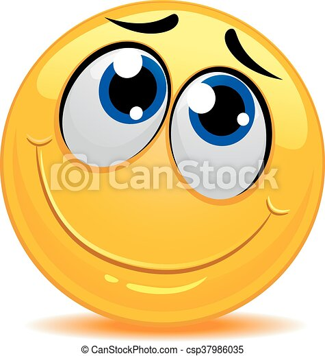 El emoticono sonriente se siente tímido - csp37986035