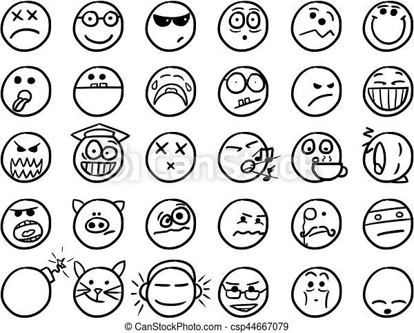 Smiley vector hand drawings icon set in black and white - Smiley coloriage ...