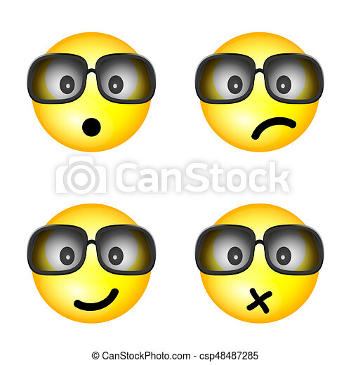 smiley with sunglasses and different face illustration - csp48487285