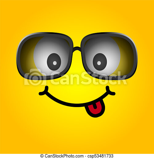 smiley with sunglasses cartoon illustration - csp53481733