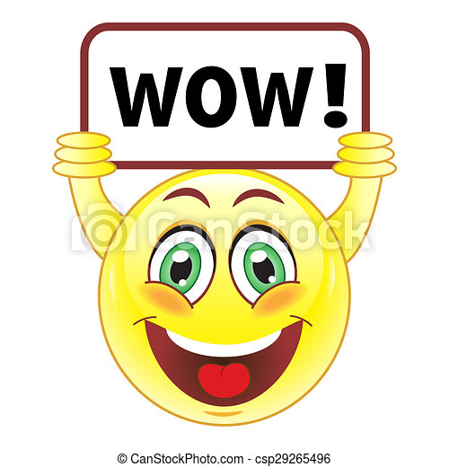 smiley with wow sign stock illustration search vector clipart rh canstockphoto com wow clipart images pow wow clip art