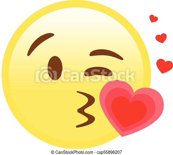 Smiley Yellow Face With Kissing Mouth And Heart Flat Icon