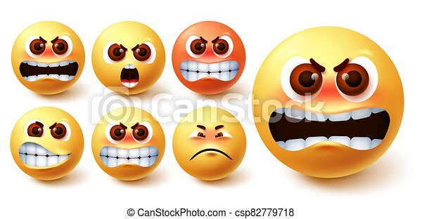 Smileys angry emoji vector set. Emoji smileys in yellow face with different facial expression - csp82779718