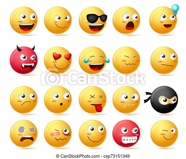 Smileys emoji faces vector set. Smiley emoticons with side view faces character. - csp73151349