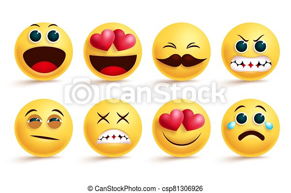 Smileys emoji vector set. Smiley yellow face emojis and emoticons with different facial expressions like sleepy, angry, crying and in love isolated. - csp81306926
