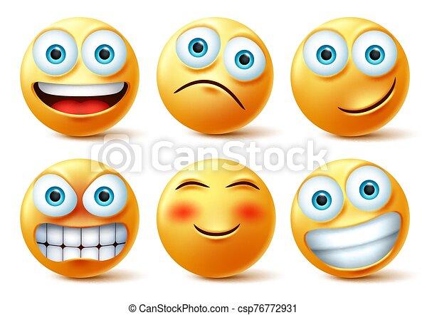 Smileys emojis and emoticons face vector set. Smiley emoji cute faces - csp76772931