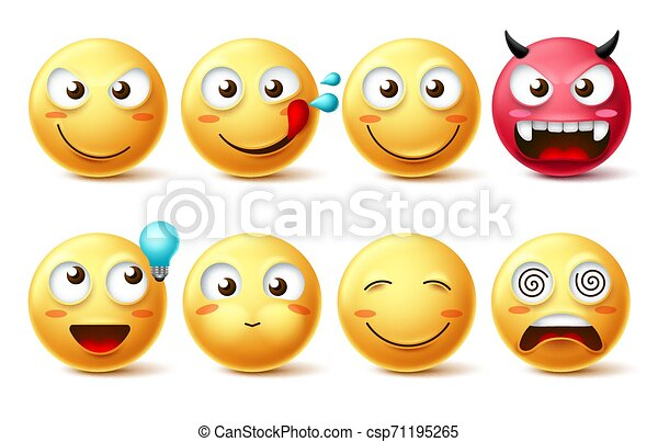 Smileys icon vector set. Smiley faces and emoticons happy, hungry, naughty - csp71195265