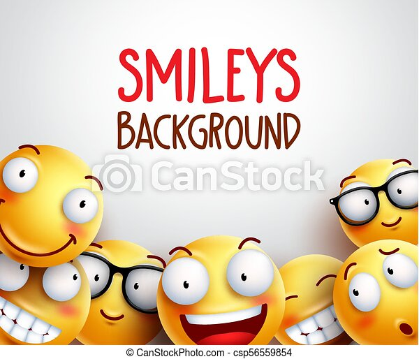 Smileys vector background. Yellow smileys or emoticons - csp56559854