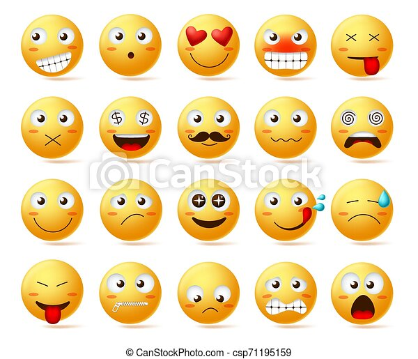 Smileys vector icon set. Smiley face or yellow emoticons with facial expressions - csp71195159