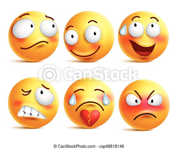 Smileys vector set. Smiley face or yellow emoticons with facial expressions - csp48818146