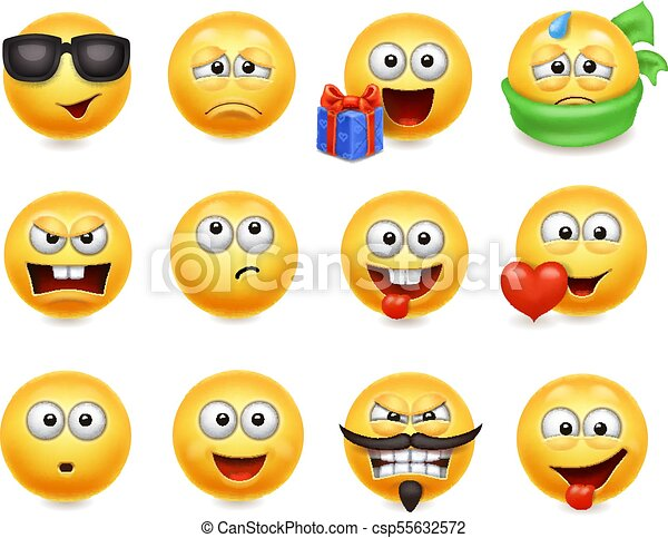 Smileys vector set. Smiley faces with facial expressions. Happy, evil, confused - csp55632572