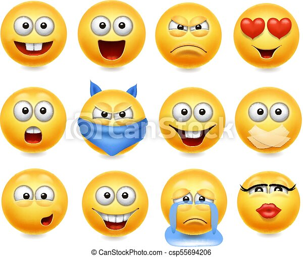 Smileys vector set. Smiley faces with facial expressions. Happy, loving cry and confused. - csp55694206