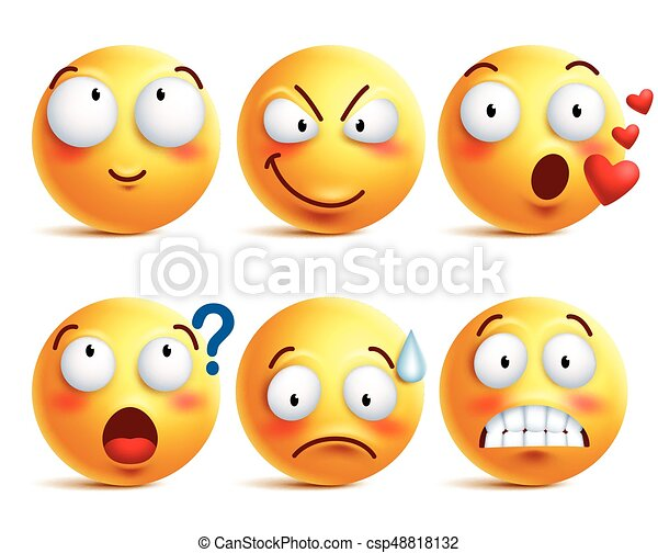 Smileys vector set. Yellow smiley face or emoticons with facial expressions - csp48818132