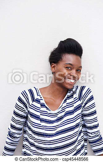 smiling african american woman against white background - csp45448566