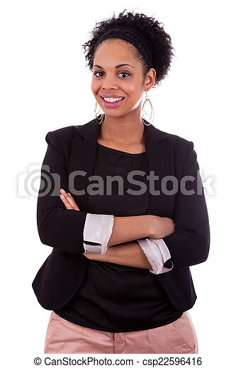 Smiling african american woman with folded arms - csp22596416