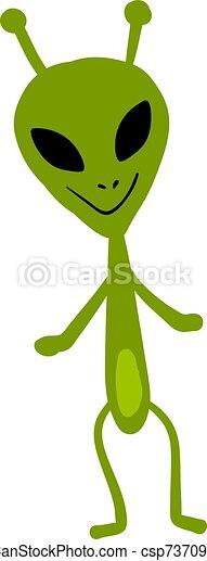 Smiling alien, illustration, vector on white background. - csp73709514
