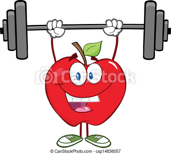 Smiling Apple Lifting Weights - csp14836057