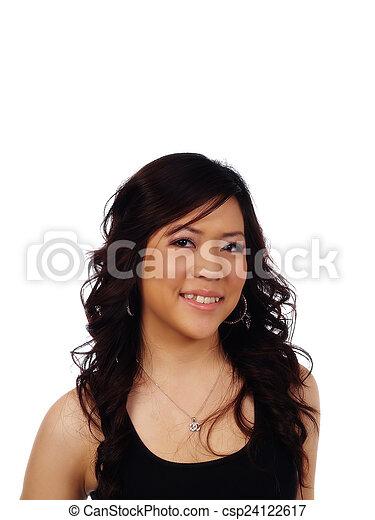Smiling Asian American Woman Portrait Black Top - csp24122617