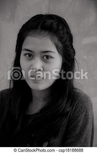 Smiling Asian woman - csp18188688