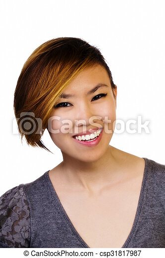 Smiling Attractive Asian American Woman Portrait Sweater - csp31817987