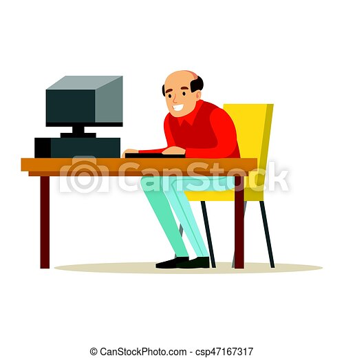 Smiling Bald Man Working On A Computer At His Office Desk, Colorful  Character Vector Illustration
