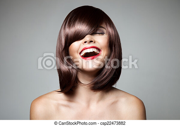Smiling Beautiful Woman With Brown Short Hair. Haircut. Hairstyl - csp22473882