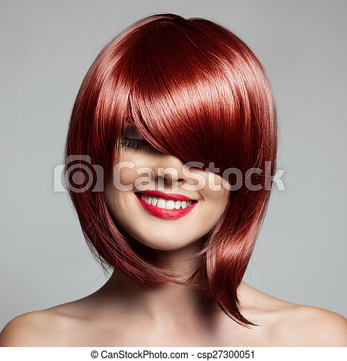 Smiling Beautiful Woman With Red Short Hair. Haircut. Hairstyle. Fringe. - csp27300051