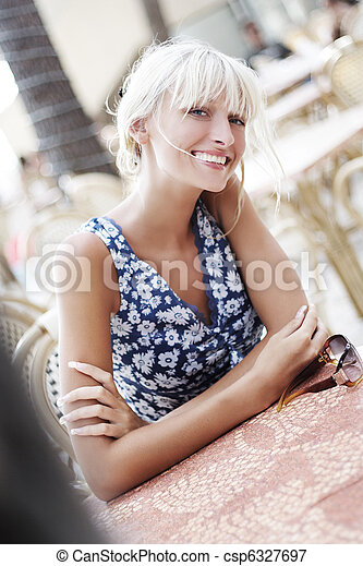Smiling blond beauty - csp6327697