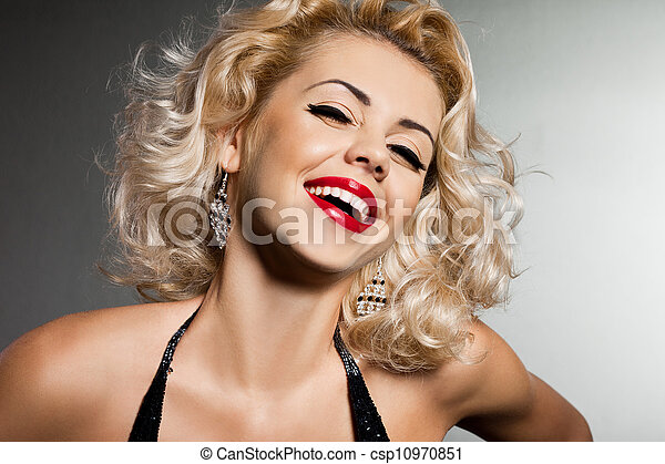 smiling blonde woman in black dress - csp10970851