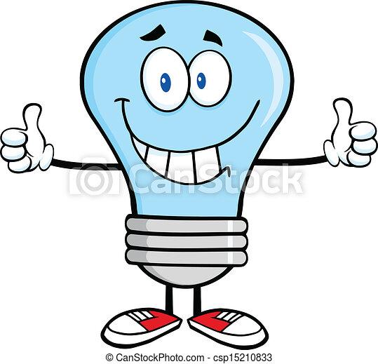 Smiling Blue Light Bulb  - csp15210833