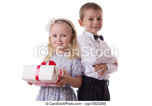 Smiling boy and girl with present box - csp15923265