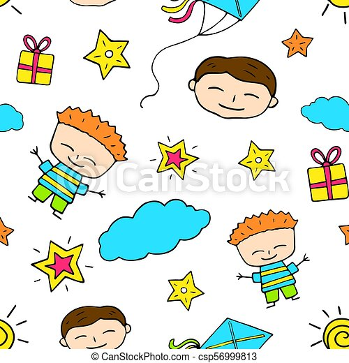 Smiling Boy Doodle Seamless Pattern Birthday
