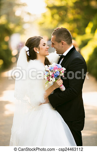 smiling bride and groom looking at each other at autumn park - csp24463112