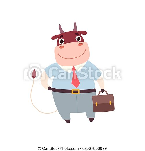 Smiling Bull Businessman Wearing Formal Clothes, Cute Farm Animal Cartoon Character Standing with Briefcase Vector Illustratio - csp67858079