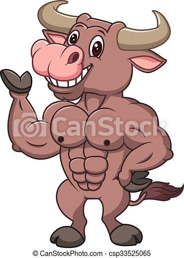 Smiling bull mascot presenting - csp33525065