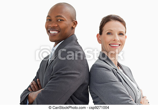 Smiling business man and woman  - csp9271004