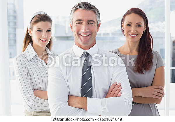 Smiling business man with colleague - csp21871649